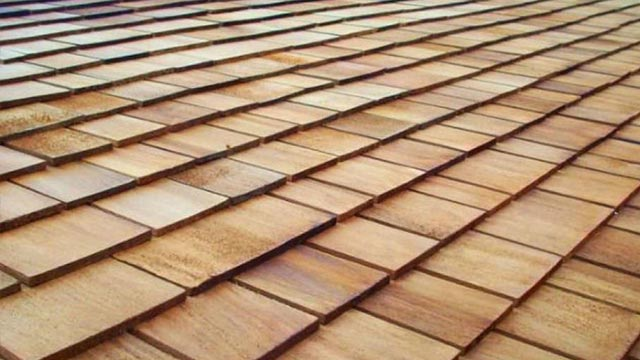 image of wood roofing shingles
